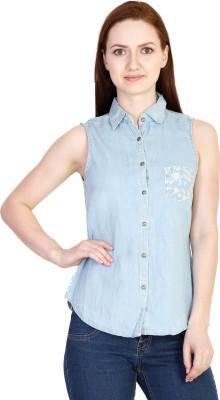 Coffee Bean Casual Sleeveless Self Design Women's Light Blue Top