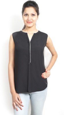 Bay & Blue Casual Sleeveless Solid Women's Black Top