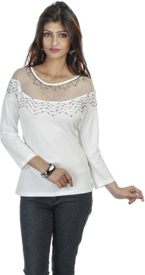 Butterfly Wears Casual Full Sleeve Solid Women's White Top