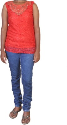 Jhumri Casual Short Sleeve Floral Print Girl's Red Top