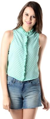 Oranje Casual Sleeveless Polka Print Women's Green, White Top