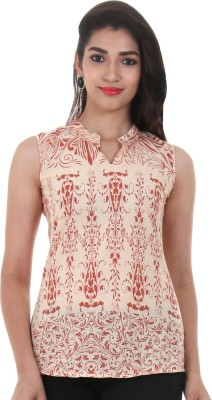 Estyle Casual Sleeveless Printed Women's Beige Top