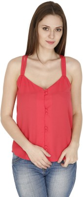 pinaki perryhills Casual Sleeveless Solid Women's Red Top