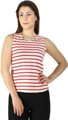 Tenn Casual, Party Sleeveless Striped Women's Red Top