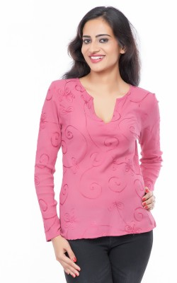 Eurodif Design Party, Beach Wear, Festive Full Sleeve Embroidered Women's Pink Top