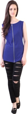 Vvine Party, Casual Sleeveless Solid Women's Blue Top