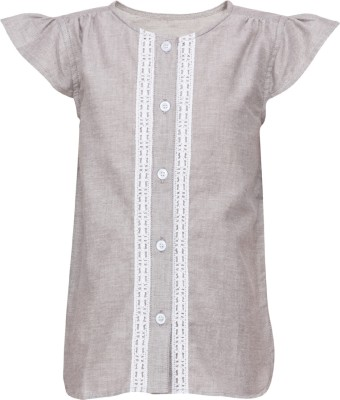 Buttercups Casual Short Sleeve Embroidered Girl's Grey Top