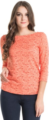 Kazo Casual 3/4 Sleeve Embellished Women's Orange Top