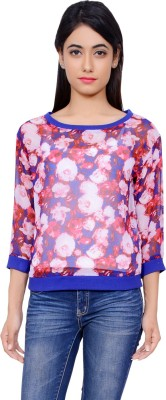 Lamora Casual 3/4 Sleeve Floral Print Women's Purple Top