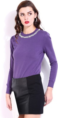 D Muse by DressBerry Casual Full Sleeve Solid Women's Purple Top at flipkart