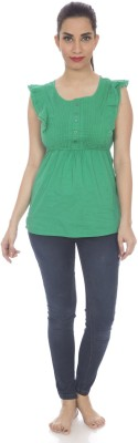 Clodentity Casual Sleeveless Self Design Women's Dark Green Top