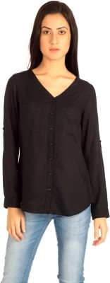 MIST ISLAND Casual Full Sleeve Solid Women's Black Top