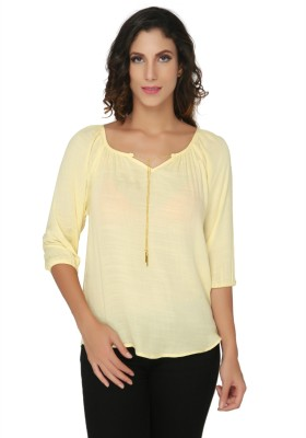 Philigree Casual 3/4 Sleeve Solid Women,s Yellow Top