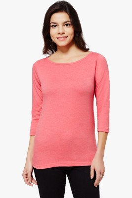PNY Casual 3/4 Sleeve Solid Women,s Red Top