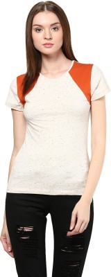 Golden Couture Casual, Festive, Formal, Party Short Sleeve Solid Women's White, Orange Top