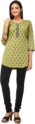 Rene Casual 3/4 Sleeve Floral Print Women's Green Top