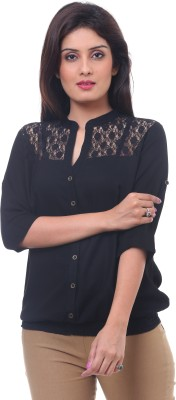Lynda Casual 3/4 Sleeve Solid Women's Black Top
