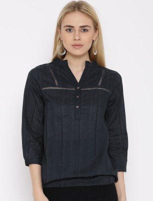 VAAK Casual Full Sleeve Self Design Women's Blue Top