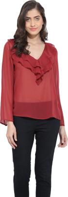 Ama Bella Casual Full Sleeve Solid Women's Maroon Top