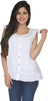 Fashion Wardrobe Women's Self Design Casual White Shirt