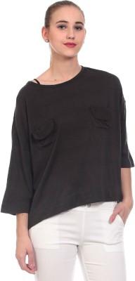 Saiints Casual 3/4 Sleeve Solid Women's Black Top