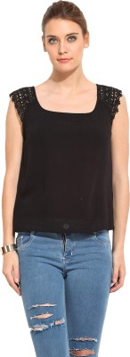 Rena Love Casual Sleeveless Solid Women's Black Top