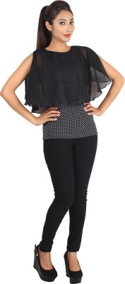 Jiyami Creations Party Sleeveless Self Design Women's Black, White Top
