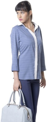 The Office Walk Formal 3/4 Sleeve Solid Women's Blue Top