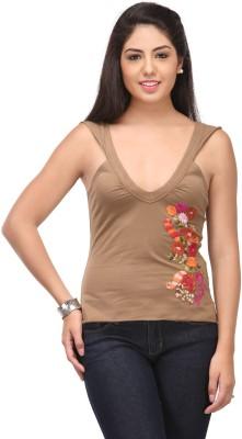 Cappadocia Casual Sleeveless Solid, Self Design Women's Brown Top