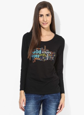 T-shirt Company Casual Full Sleeve Graphic Print Women's Black Top