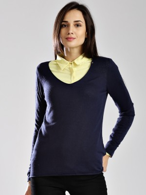 GAS Casual Full Sleeve Solid Women's Dark Blue Top