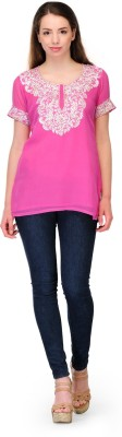 Belle Party Short Sleeve Embroidered Women's Pink Top