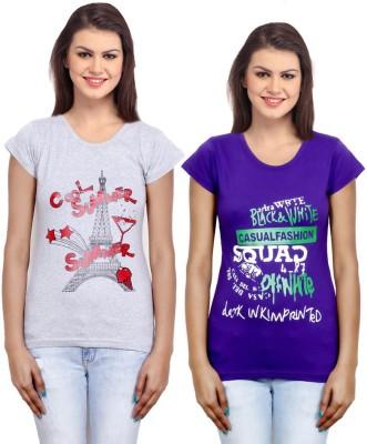IndiWeaves Casual Short Sleeve Printed Girl's Grey, Purple Top