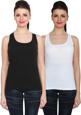 NumBrave Sports Sleeveless Solid Women's Black, White Top
