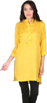 Belinda Casual, Party, Lounge Wear 3/4 Sleeve Solid Women's Yellow Top