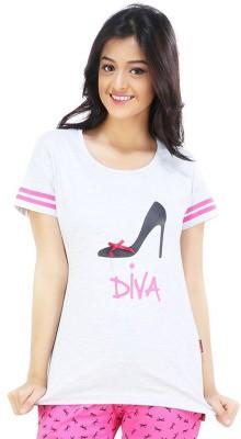 Nite Flite Casual Short Sleeve Graphic Print Women's Grey, Pink Top