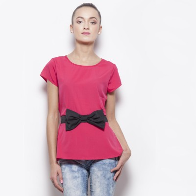 Popnetic Casual Short Sleeve Solid Women's Pink Top