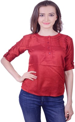 Lee Marc Casual 3/4 Sleeve Solid Women's Red Top