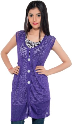 Membooz Casual, Party Short Sleeve Printed Women's Purple, Black Top