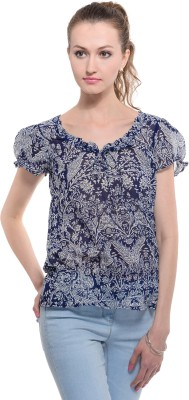 A Luv Ya Casual Short Sleeve Floral Print Women's Dark Blue, White Top