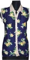 Port Women's Clothing - Port Formal Sleeveless Printed Women's White Top