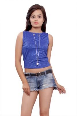 Maya Apparels Party Sleeveless Self Design Women's Light Blue Top