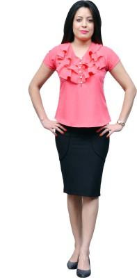 Change360?? Formal, Casual, Party Cape Sleeve Solid Women's Pink Top