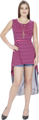 Franclo Party Sleeveless Striped Women's Pink, Black Top
