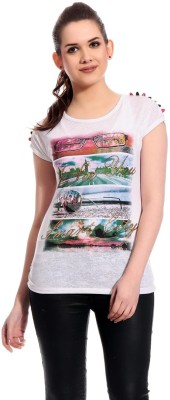 Rose Taylor Casual Short Sleeve Printed Women's White Top