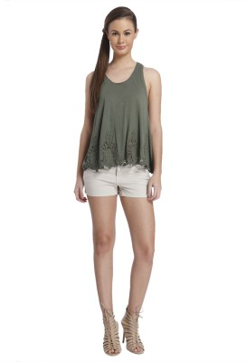 Only Casual Sleeveless Solid Women's Green Top at flipkart