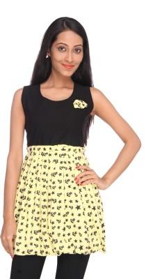 Deesha Casual, Formal Sleeveless Self Design Women's Black, Yellow Top