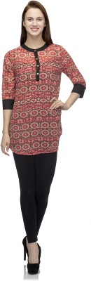 Primo Knot Casual 3/4 Sleeve Printed Women's Multicolor Top