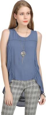Bainy Casual Sleeveless Solid Women,s Blue Top