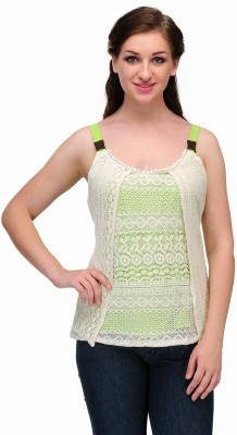 Samayra Casual Sleeveless Woven Women's Green, White Top